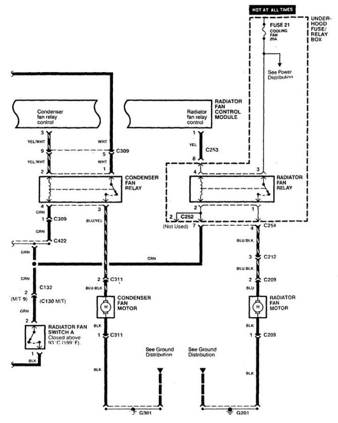 acura cl 1998  1999  wiring diagrams  cooling fans