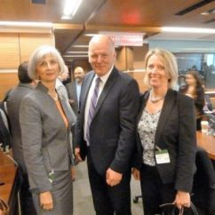 Left to right: Victoria Owen (Chief Librarian, University of Toronto Scarborough and Member, CARL Policy Committee), Hon. Mark Eyking (Chair of the Standing Committee on International Trade) and Susan Haigh (Executive Director, CARL)