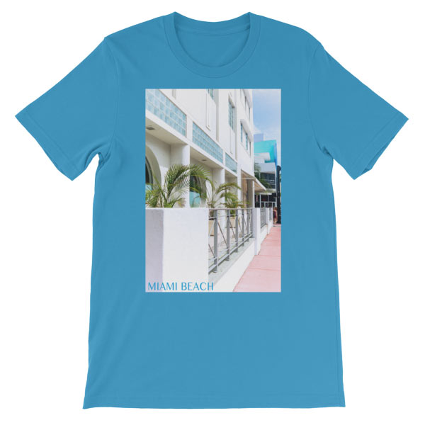 Miami Beach Art Deco hotel - Carla Durham - - Carla in the City - short sleeve unisex t-shirt, ocean blue