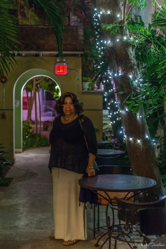 Pat in courtyard of Impala Hotel in South Beach Miami Beach, Florida - Photographer Carla Durham - 50 Cities and counting