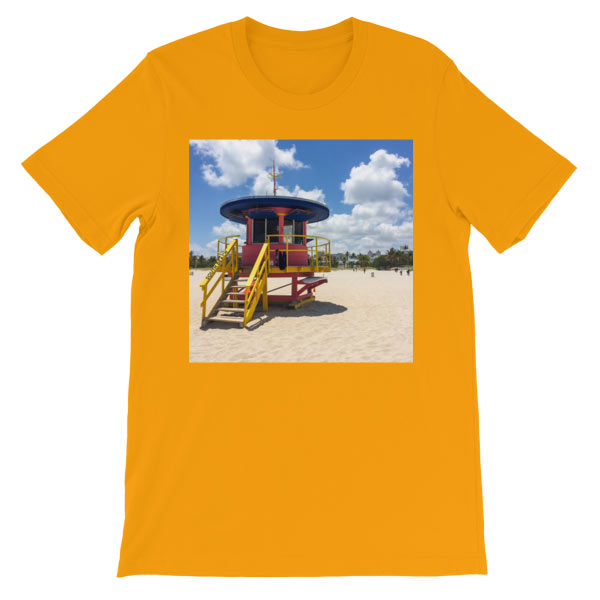 10th-street-lifeguard-tower-miami-t-shirt-gold