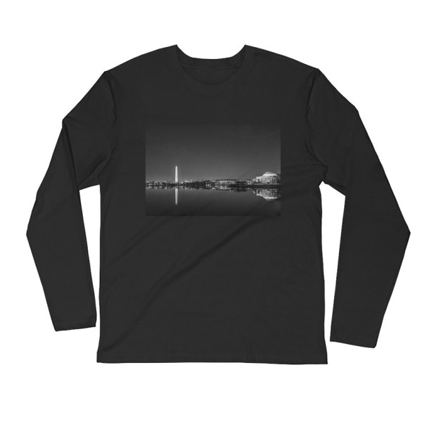 Washington, DC skyline at night in black and white - Carla Durham - Carla in the City - long sleeve unisex t-shirt, black