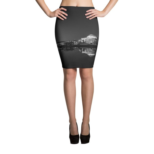 Washington, DC skyline at night in black and white - Photo by Carla Durham - Carla in the City - pencil skirt
