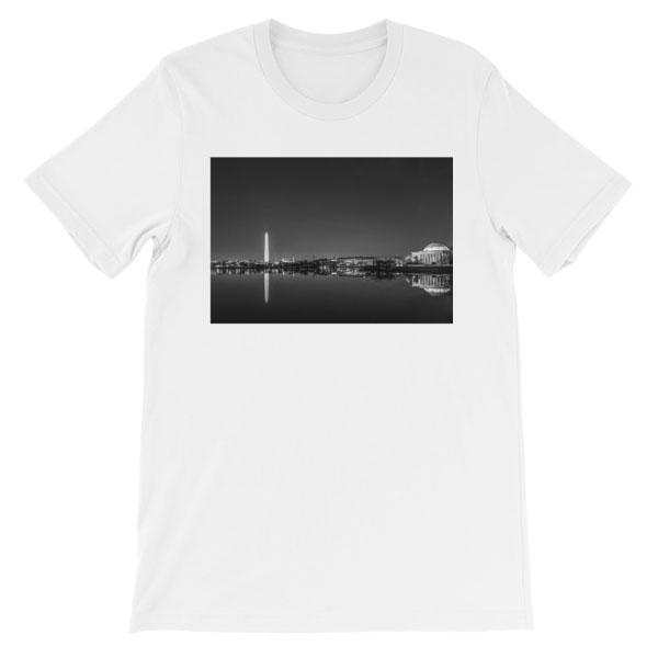 Washington, DC skyline at night in black and white - Carla Durham - - Carla in the City - short sleeve unisex t-shirt, white