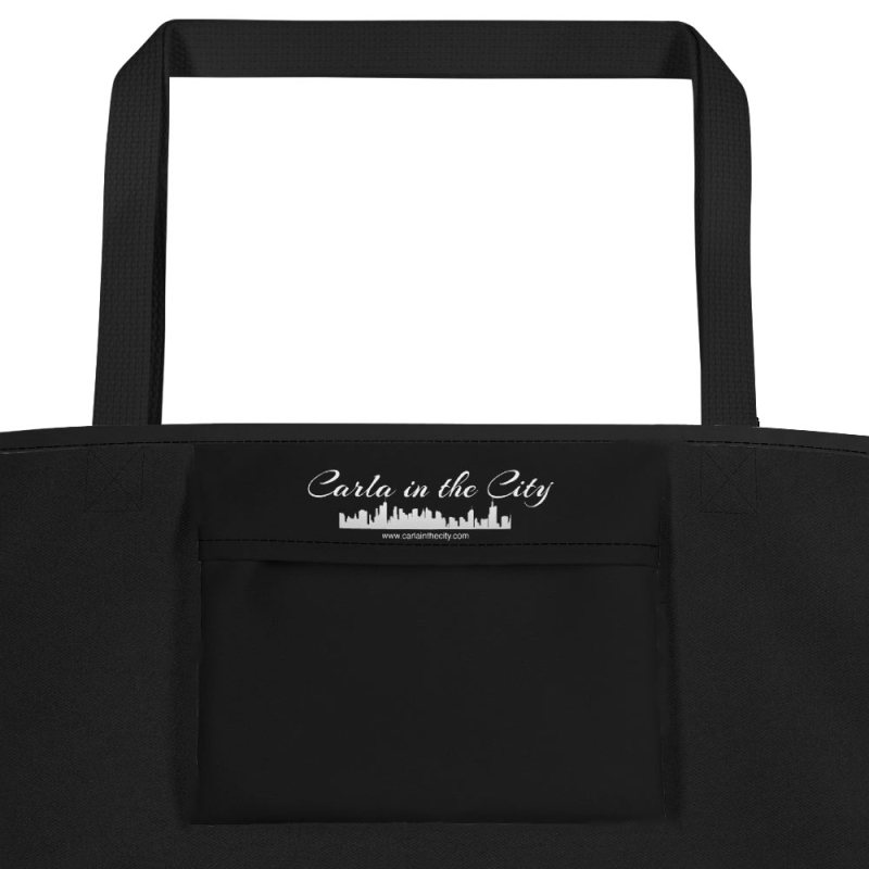 Washington, DC skyline at night in black and white - Carla Durham - Carla in the City - pocket of large black tote bag
