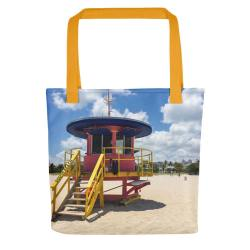 10th-street-lifeguard-tower-miami-tote-bag-front-yellow