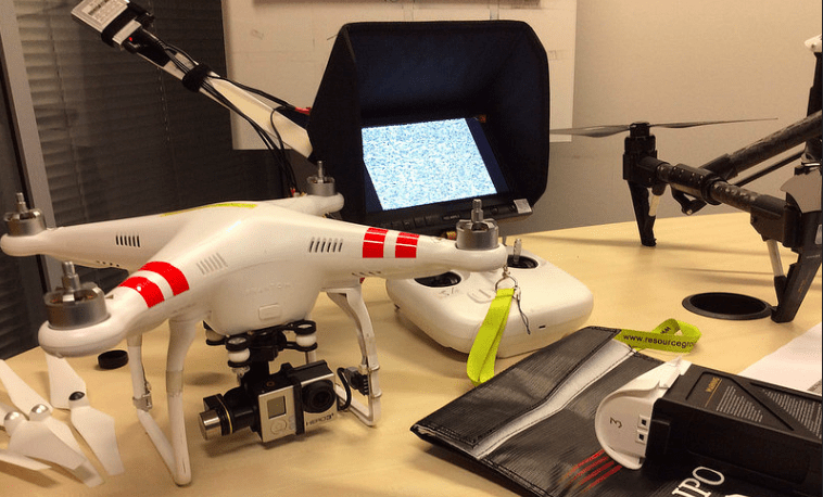 Some of the drones that BBC team brought to the session (Photo: Barbara Maseda)