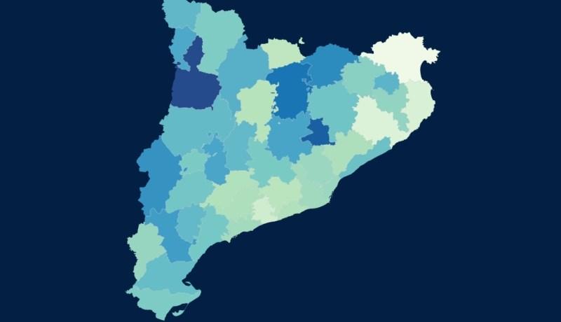 Mapa que indica el percentatge de població vacunada per comarques
