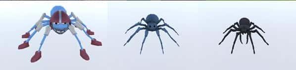 Spindel nr 1, nr 4 och nr 7 i den virtuella behandlingen