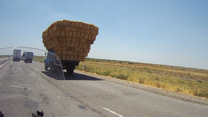 Hay transport. Nice stacking of the hay bales.