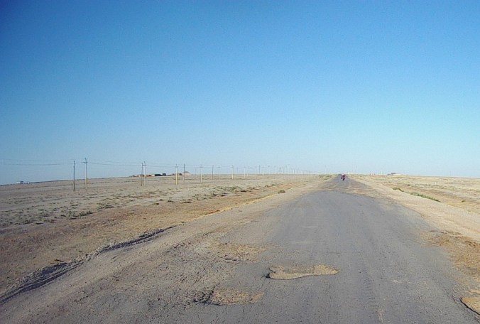 Horrible road leading west out of Kazakhstan to Russia.