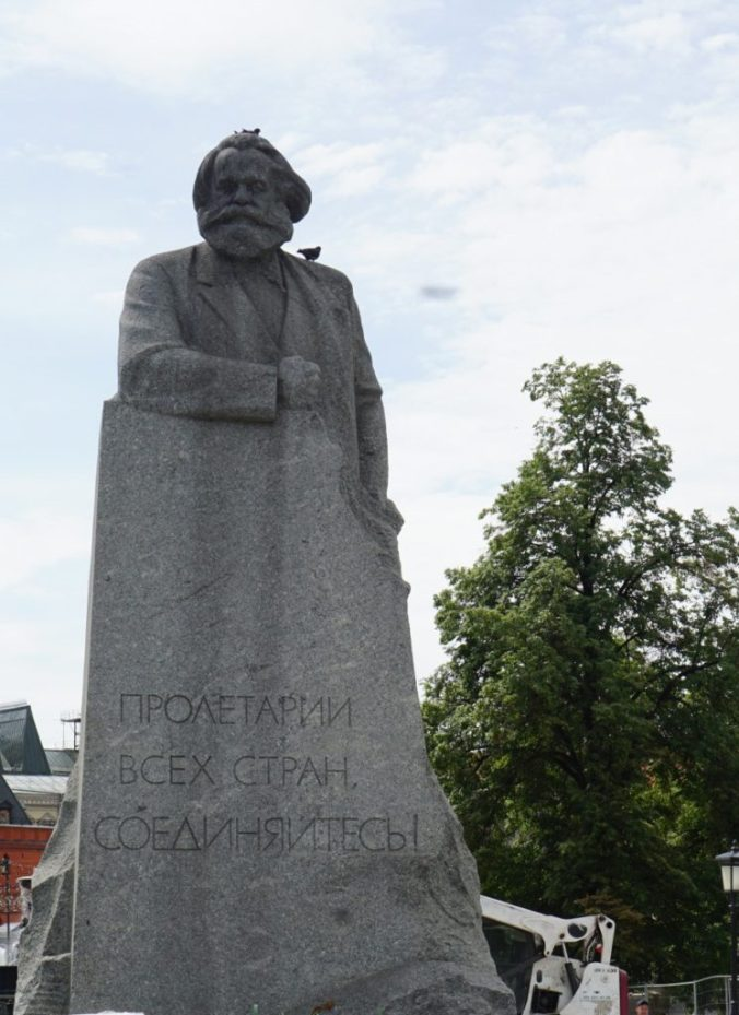 Karl Marx monument on the Revolution square.