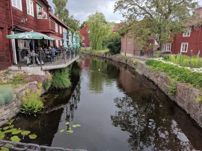 A stream runs through the town.