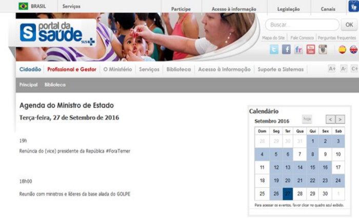 site alterado Ministério da Saúde