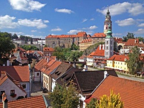 Vista del Castillo y Villa de Cesky Krumlov