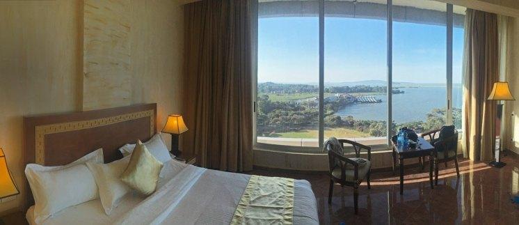 Vistas del lago Tana desde nuestra habitación en el Bahir Dar Grand Resort & Spa