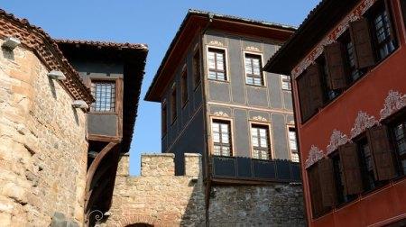 Plovdiv. Ciudad Vieja. Arco y Casas Resurgimiento