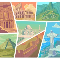 Seven-wonders-of-the-modern-world-vector-illustration-Great-Wall-of-China-Petra-The-Colosseum-Chichen-Itza-Machu-Picchu-Taj-Mahal-Christ-the-Redeemer-Vector-Angelica-Erma