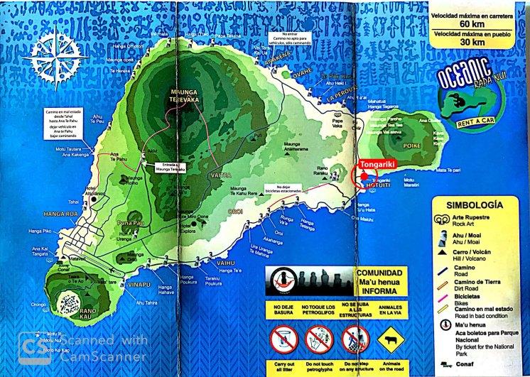 Ubicación de Tongariki en la Isla de Pascua