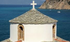 Chora. Cúpula de Iglesia Ortodoxa y Mar Egeo