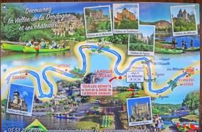 Plano Excursiones en Canoa por este tramo del Dordoña