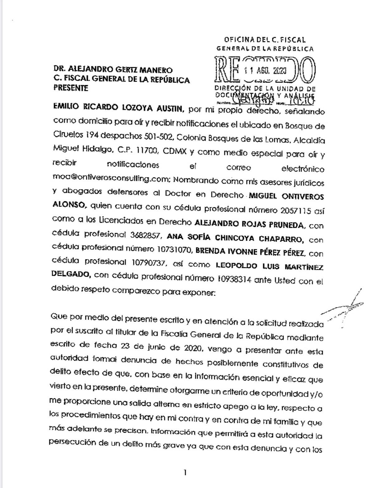 La presunta declaración de Lozoya