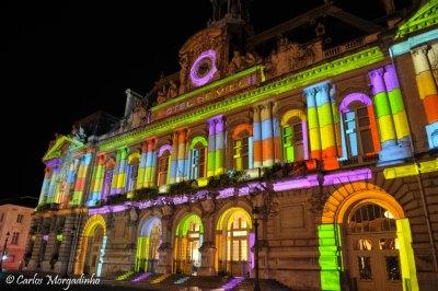 Illumination de l'hôtel de ville de Tours