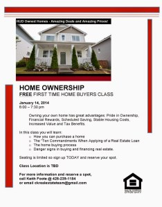 First Time Home Buyers Class - Flyer