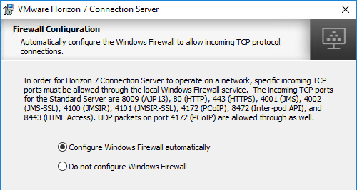 in the firewall page click next