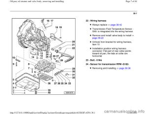 AUDI A4 1996 B5  1G 01V Transmission Oil Pan And Oil