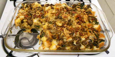 beef strata in a pan