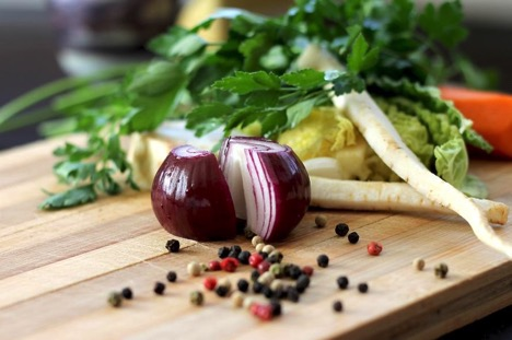 cooking outdoors with root vegetables