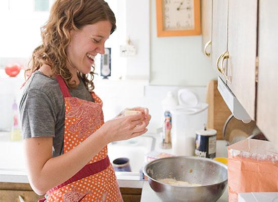 Teeny Morris making pie