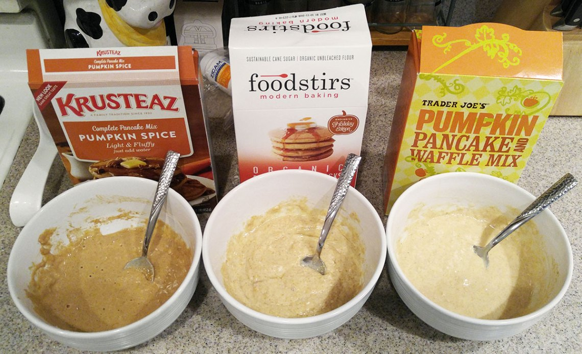 comparing three pumpkin pancake batters - Krusteaz, Foodstirs, Trader Joes