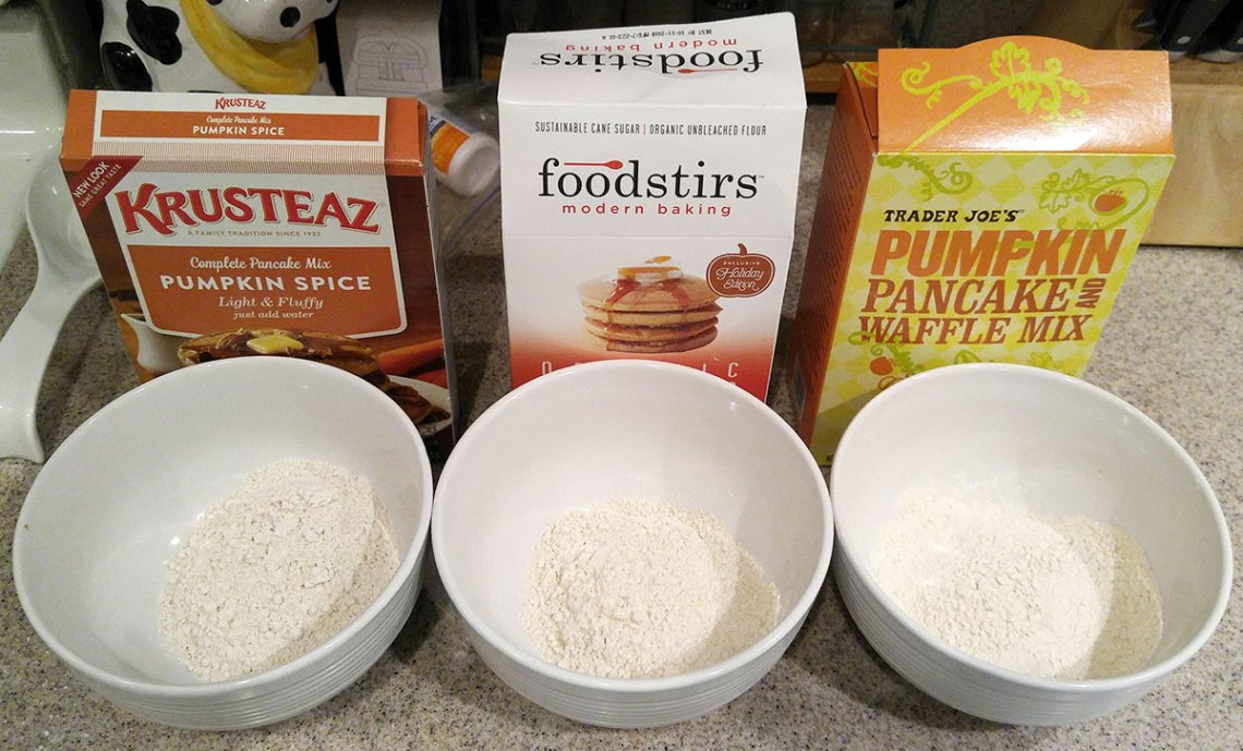 compare three pumpkin pancake mixes - Krusteaz, Foodstirs, Trader Joes