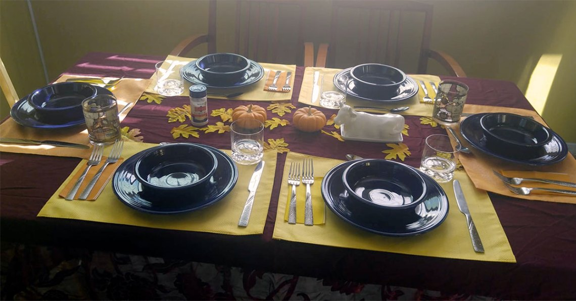 Thanksgiving dinner table set and ready to go