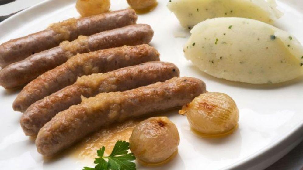 salchicha con puré de patata