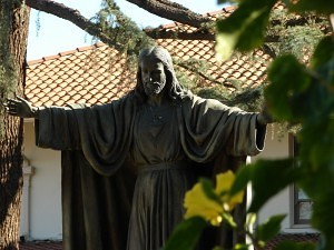 Statue of the Sacred Heart of Jesus on the front lawn of the Carmelite Sisters' Sacred Heart Retreat House and Motherhouse, Alhambra, CA