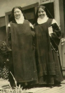 Mother Luisita (left) and Mother Margarita Maria who came with Mother to Los Angeles as a refugee in 1927.