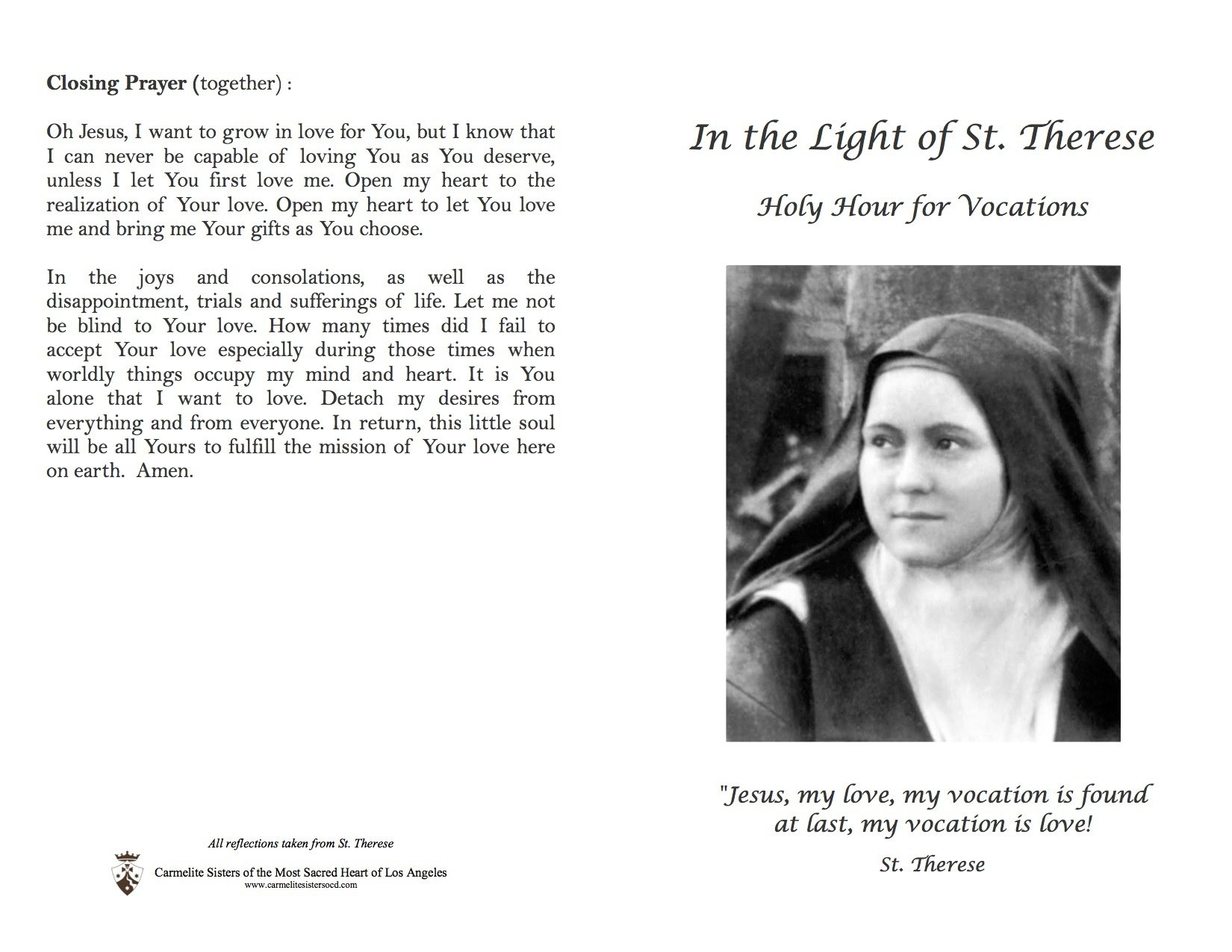 prayers for vocations carmelite sisters of the most sacred heart