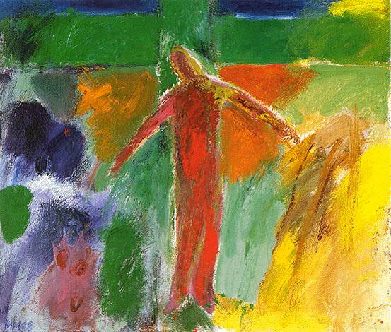 """Maria Hafner [weitere Werke (2)] [Druckansicht]   Auferstehen , 1998 Acryl, 60 x 70 cm      Auferstehen """"Vor dem grünen Kreuz, das zum Lebensbaum wurde, steht der Auferstandene. Er ist die Frucht dieses Baumes, er gibt sich zur Speise – seinen Brüdern und Schwestern. Er teilt sein Wesen mit, sein verwandeltes, auferstandenes Leben. Nicht als philosophische Idee, sondern sich selbst – zu einem neuen Begegnen. In einer neuen Gegenwart, auf einer neuen Ebene. """"Ich bin das Brot, das vom Himmel herabge- kommen ist, damit sie (die Menschen) das Leben haben und es in Fülle haben."""" (Joh 5,33-35; 10,10) Seine Arme sind ausgebreitet, sie sind nicht mehr ans Holz genagelt, sie sind frei. Es ist, als bewegen sie sich leicht im Tanze, uns einladend.  Damit wir es immer wieder erfahren: in diesem auferstandenen Jesus, dem Christus, haben wir Anteil: an der Erde, am ganzen Kosmos, am Himmel."""" (Maria Hafner) Mit diesen meditativen Worten der Künstlerin ist das wesentliche gesagt. Ergänzend möchte ich noch auf das Kreuz und die Farben eingehen.  Das grüne Kreuz hat eine lange Tradition (z.B. Glasfenster in Chartres) und will sagen, dass aus dem Kreuz des Todes ein Kreuz der Hoffnung geworden ist durch den Tod und die Auferstehung Jesu. In das Holz des Kreuzes ist Leben eingekehrt, so dass es wieder grünt. Die Arme des Kreuzes gehen von einem Bildrand zum andern – Aus- druck für eine Hoffnung, die über alle Grenzen hinaus geht und alle Men- schen erfassen soll. Vor diesem Kreuz des Lebens steht der """"Lebendige"""", der von den Toten Auferstandene. Ganz in Rot: Zeichen seiner Liebe, in der er für uns und zur Vergebung der Sünden für uns sein Blut vergossen hat. (Mt 26,28 und euch. Hochgebete). Wie Maria Hafner schreibt, lädt Jesus uns ein, zu ihm zu kommen. Eine Einladung, an seinem neuen Leben teilzuhaben. Die vielen Farben um Jesus herum suggerieren auch, dass er uns zur Freude einlädt, die diese innige Kommunion mit ihm beinhaltet. Eine Freude, wie sie beim Aufblühen eines Gartens"""