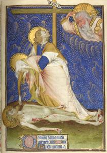 Enluminure du Maître de Rohan, Dieu, la Vierge et saint Jean devant le Christ mort, v. 1420. Manuscrit latin (9471), Les Heures de Rohan, BNF, Paris.