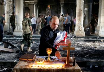 Ahmed Jadallah, Première messe après la libération de Karakoch en Irak, 30 octobre 2016, ©Reuters
