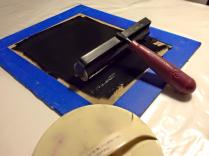 use roller to apply acrylic block printing ink