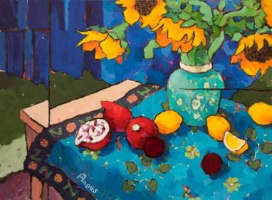 Angus_Wilson_Sunflowers_&_Poms_on_Peruvian_cloth