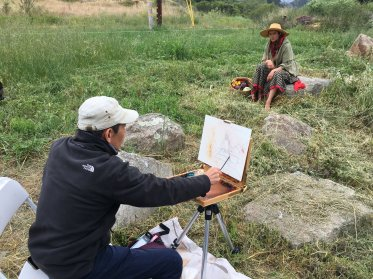 Huihan starts a new painting demo