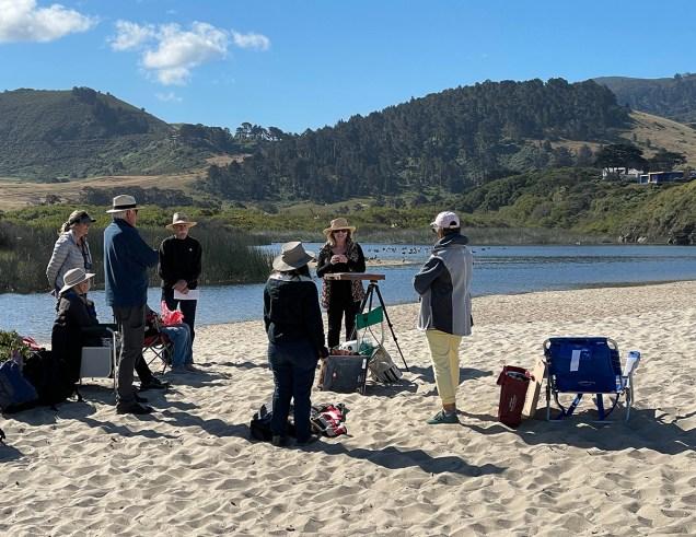 Terri Ford talks to the class at Carmel River Beach State Park