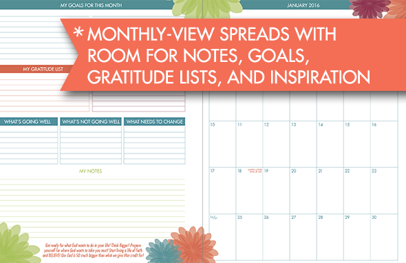 monthly iBloom planner page
