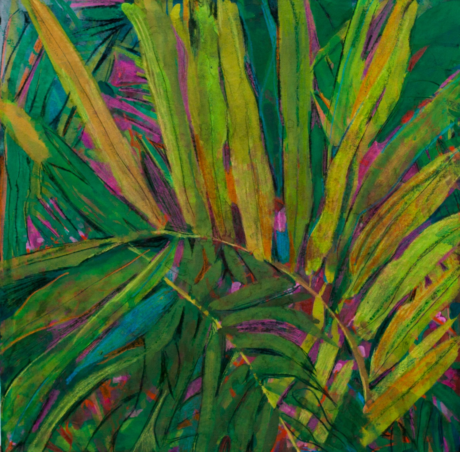 38-Palm-fragment-Gouache-on-paper-9-1-2-x-9-1-2-W