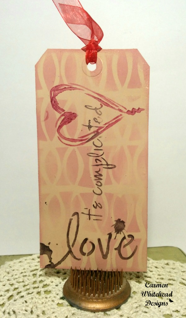 Mixed media Valentine's Tags for The Crafter's Workshop Design Team by www.carmenwhitehead.com